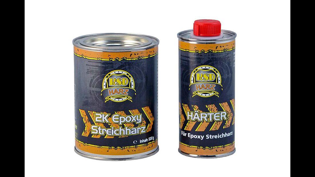 KSD-Streichharz wird mit Härter angemischt und zur Reparatur von beschädigten oder maroden Stellen eingesetzt.