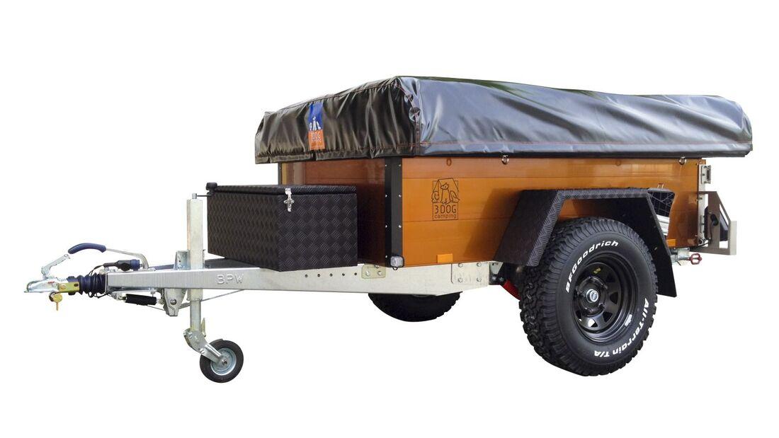 """3DOG camping bringt zum Caravan Salon einen Zelt-Anhänger in Spezial-Ausführung, das Sondermodell """"Burnt-Orange"""" OffRoader."""