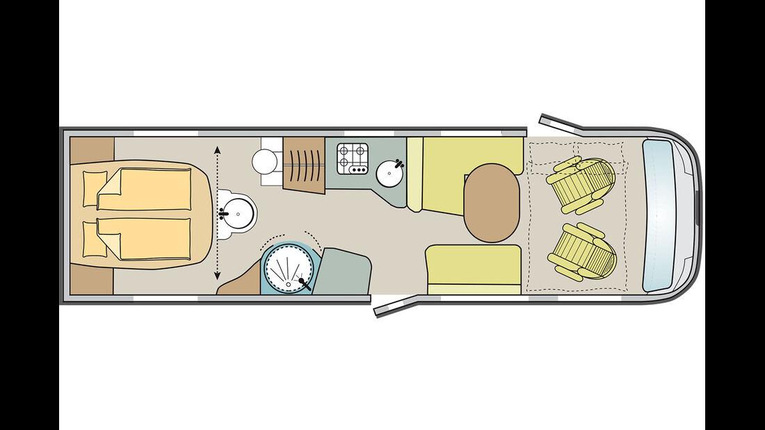 900 LX: Queensbett und Waschtisch vorm Schlafzimmer.