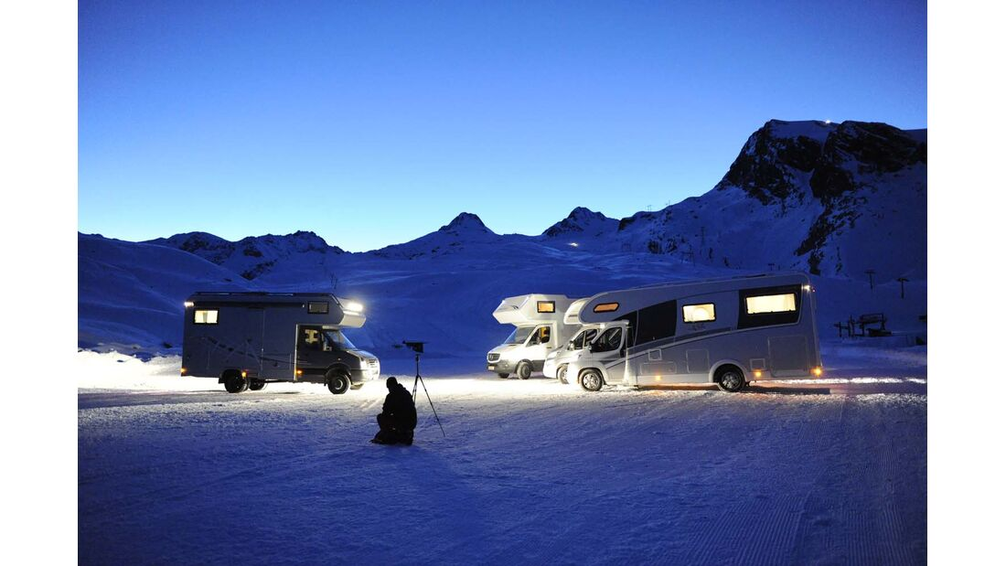 Alkoven, Nacht, Berge, Schnee, Wintertest, Fotoshooting