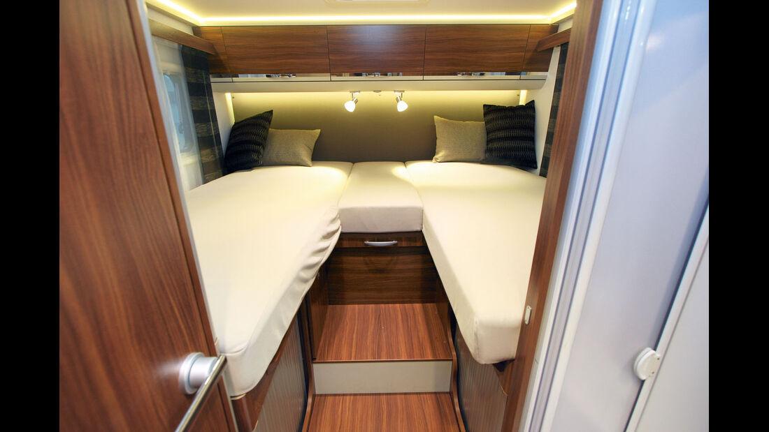 Alternativ zum Einzelbetten-Modell gibt es eine Version mit franzoesischem Bett.