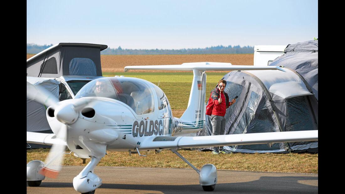 Auf 13 bis 14 Meter pro Sekunde beschleunigte das Flugzeug.