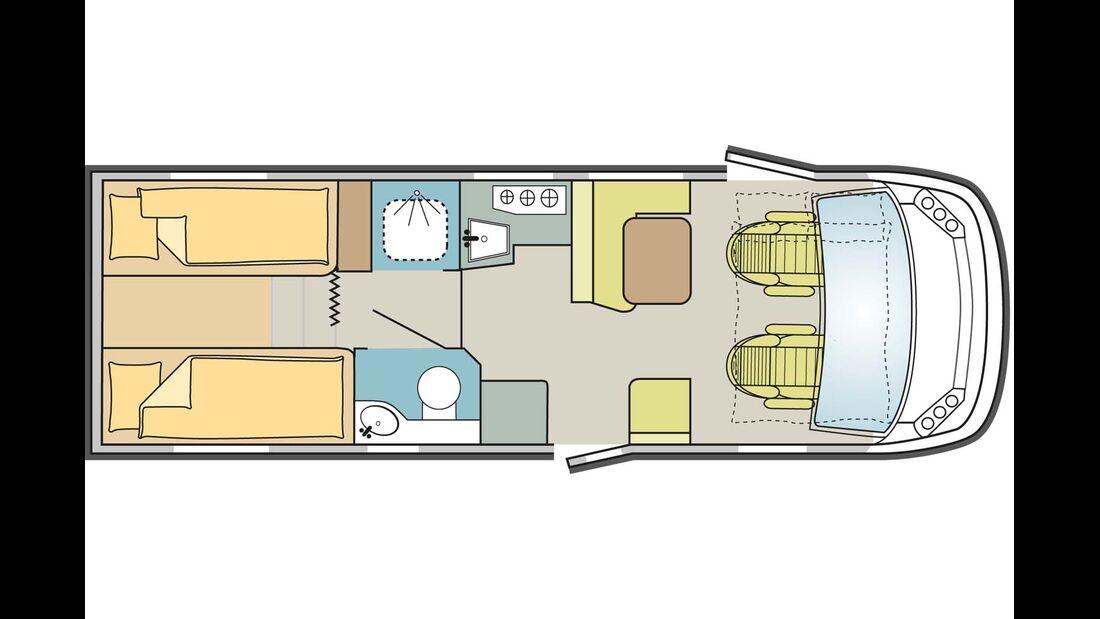 Auf 7,52 Meter Länge hat der I 700 SL Platz für ein Bad mit separater Dusche.