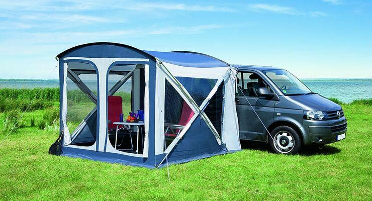 Auf dem Caravan Salon zeigt Zeltspezialist DWT sein Buszelt Cubus einschließlich Innenzelt für bestmögliche Raumausnutzung