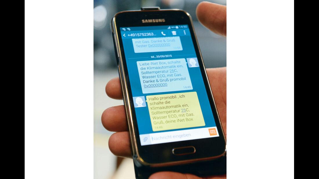 Befehle per SMS an Steuereinheit