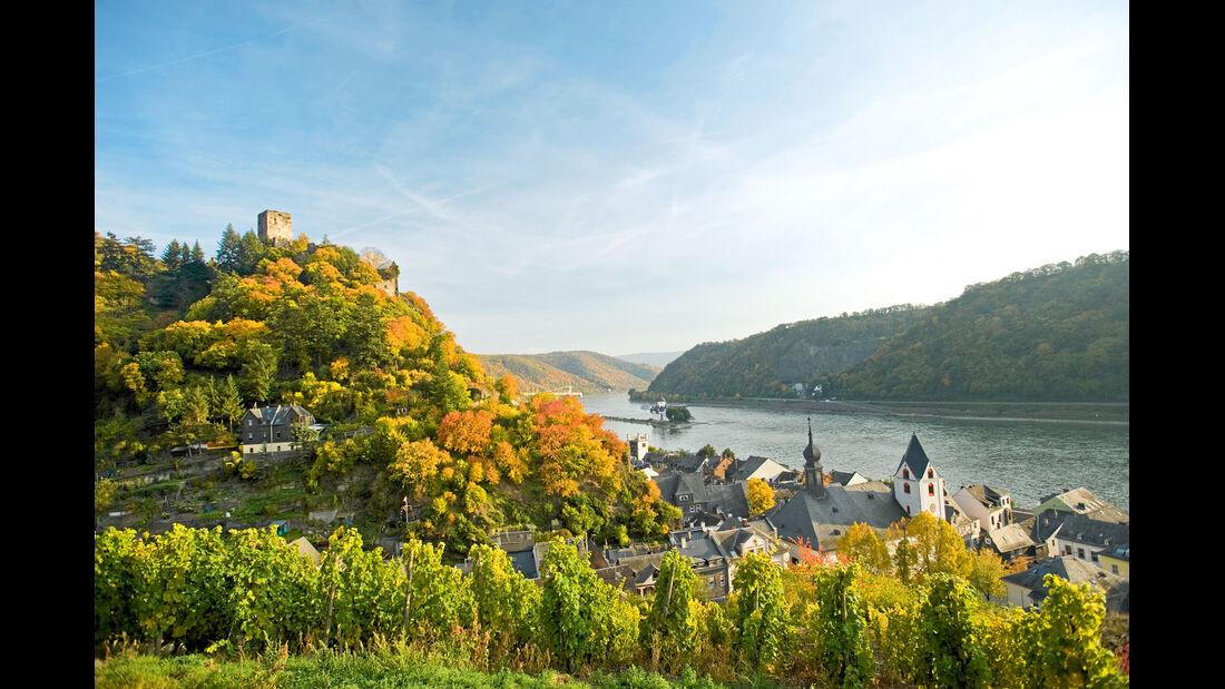 Bei Kaub ueberquerte Bluecher waehrend der Befreiungskriege 1814 den Rhein.