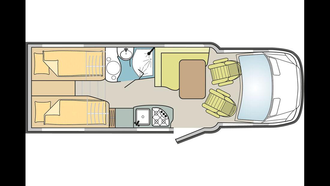 Beliebtestes ML-T-Modell ist der 580 mit Einzelbetten