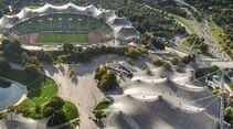 Blick auf das Olympiagelände in München
