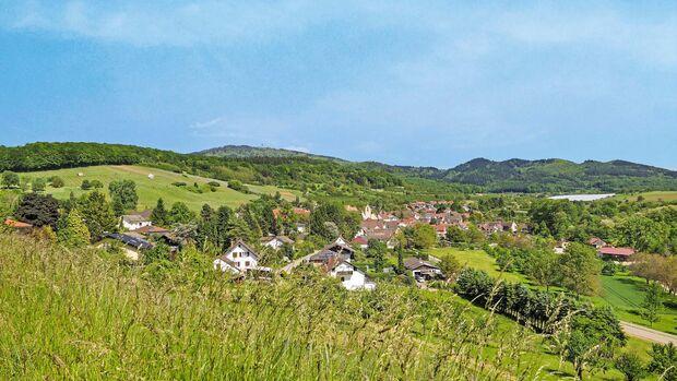 Blick auf den Blauen und den Müllheimer Ortsteil Feldberg.
