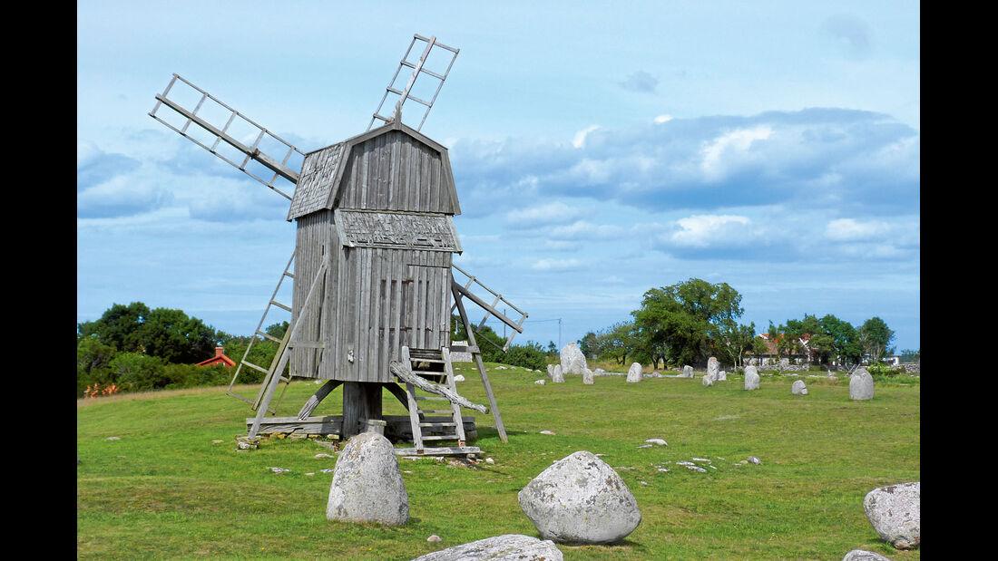 Bockwindmuehlen von Oeland sind heute noch erhalten.