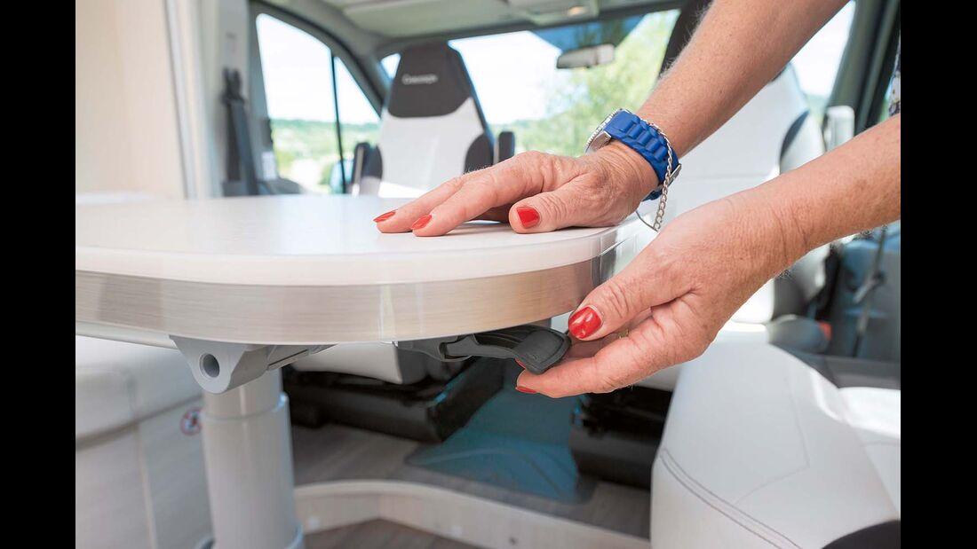 Bowdenzug löst Bremse für das Verschieben der Tischplatte .