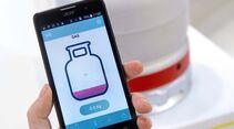 Brunners Gaswaage W8 sendet das Messergebnis mit übersichtlicher Grafik an eine Smartphone-App.