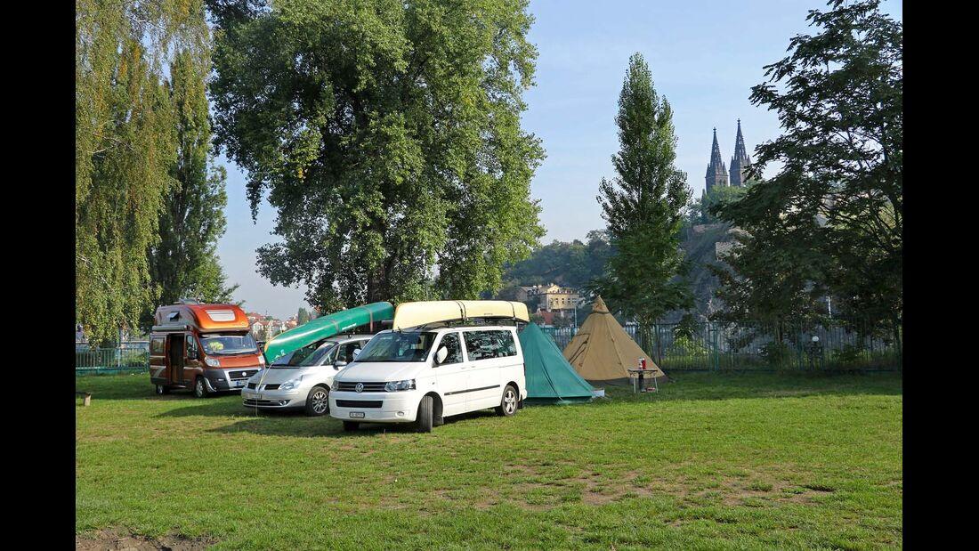 Caravan Camp Prag auf der Moldauinsel