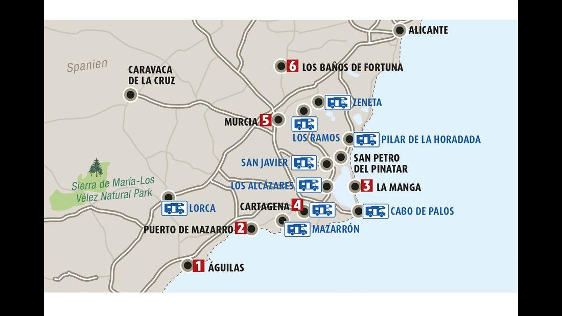 Costa Cálida Karte Highlights