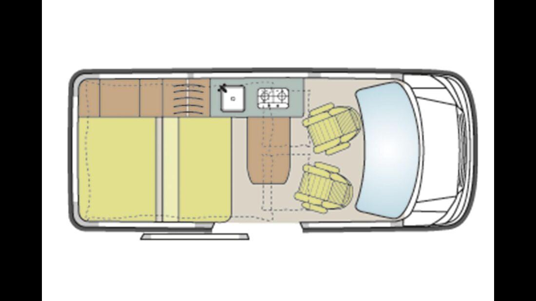 Custom Bus Camper Grundriss