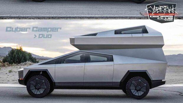 CyberCamper - Camping-Rendering Tesla Cybertruck