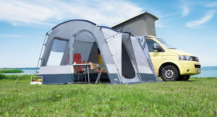 DTW-Zelte präsentiert das Buszelt Sprint II im neuen Look und inklusive vieler Extras. Es ist für viele Transportertypen geeignet.