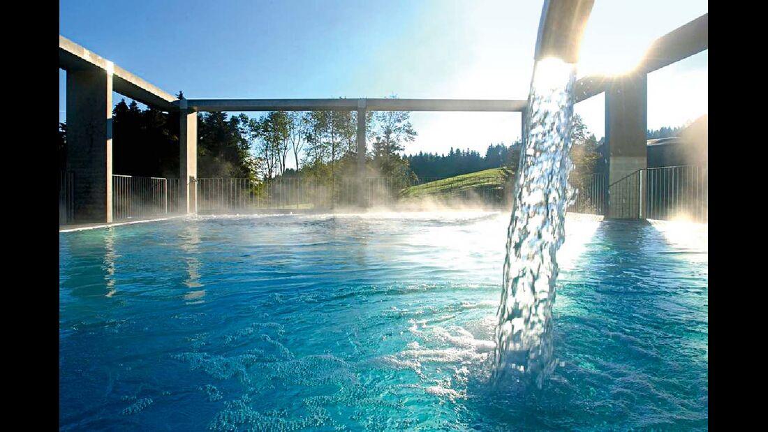 Das Heilbad Unterechstein bietet mit seinem schwefelhaltigen Wasser tolle Wellnessmöglichkeiten.