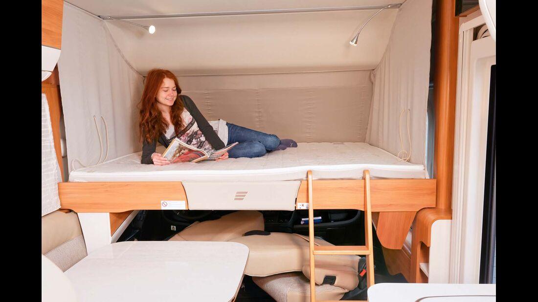 Das Hubbett fällt mit 1,80 Metern Länge ziemlich kurz aus.