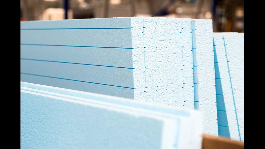 Das Isoliermaterial XPS ist zumeist blau eingefärbt.