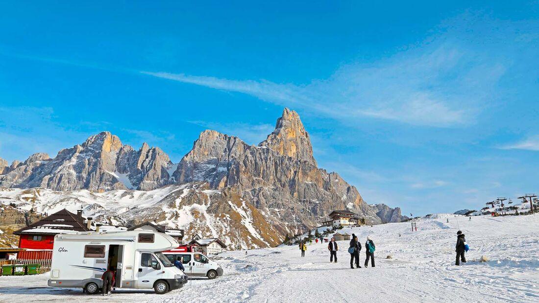 Das Skigebiet am Passo Rolle liegt am Weg nach San Martinodi Castrozza.