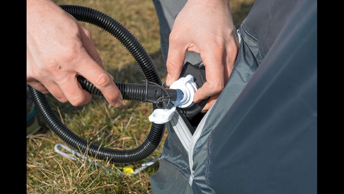 Das Ventil muss festgeschraubt werden, bevor die Luft eingepumpt wird.