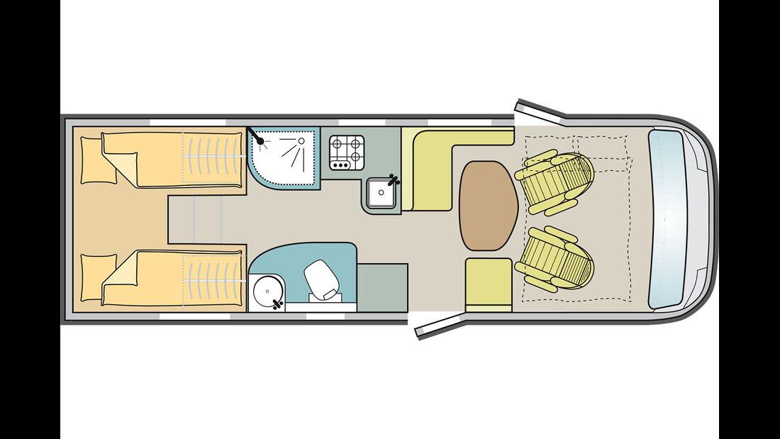 Das laengere von zwei Einzelbetten-Modellen.