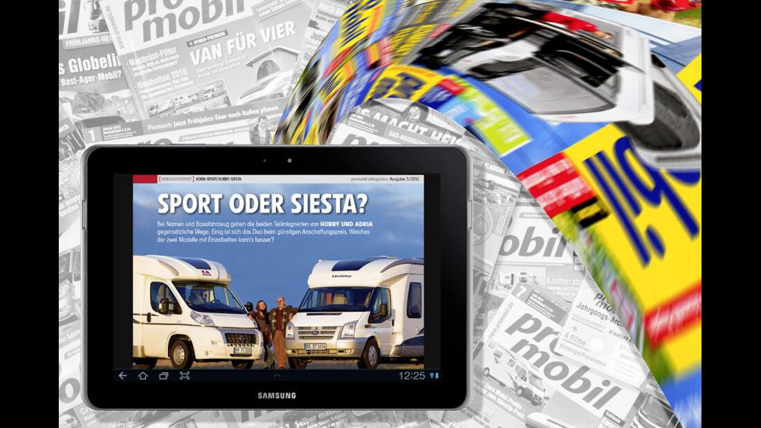 Das neue promobil-eMagazine für Android Tablets