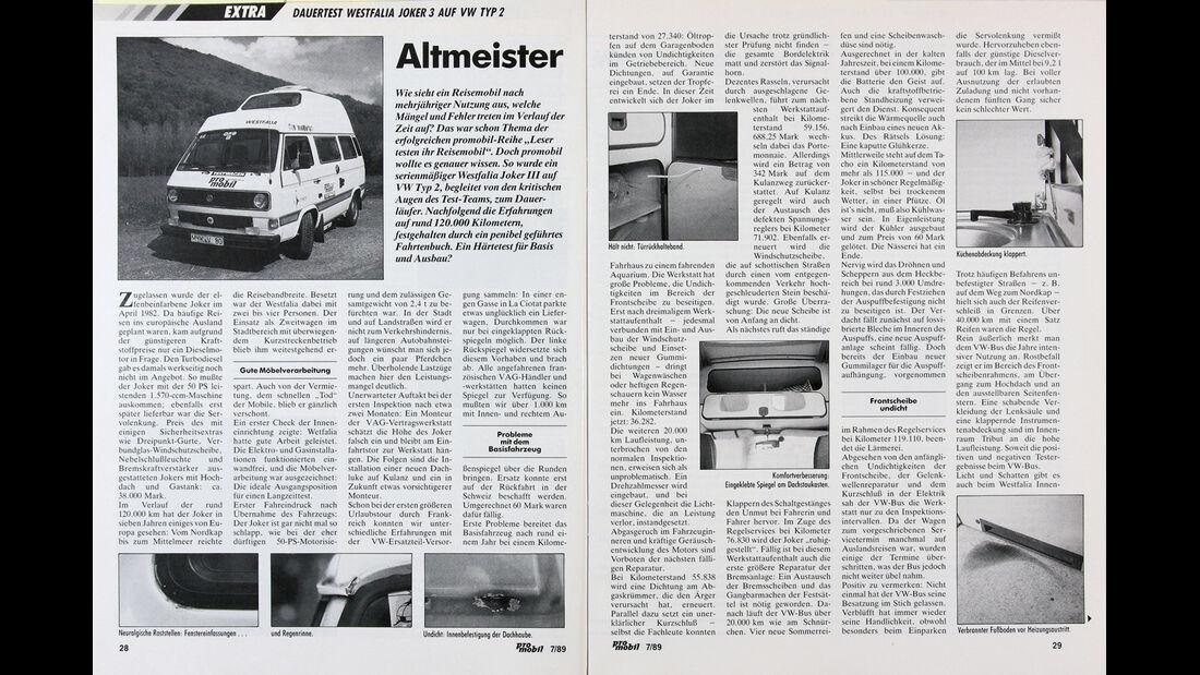 Dauertest Westfalia Joker 3 auf VW Typ 2