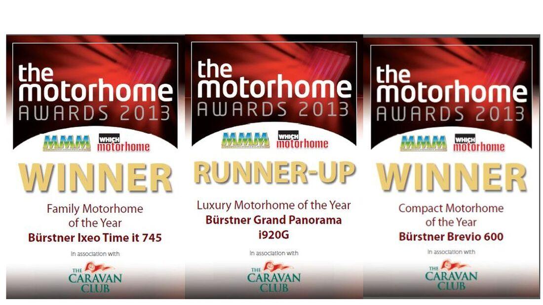 Der Bürstner Brevio t 600 wurde von zwei englischen Fachzeitschriften mit dem Motorhome Award 2013 ausgezeichnet.