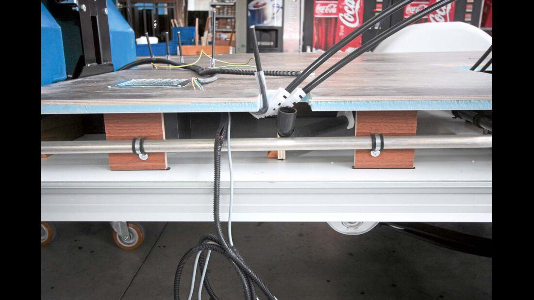 Der Doppelboden von Eura Mobil besteht aus Sperrholz, XPS und Aluminium.