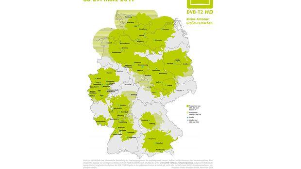 Der Empfang von DVB-T2 ist in weiten Teilen Deutschlands möglich.