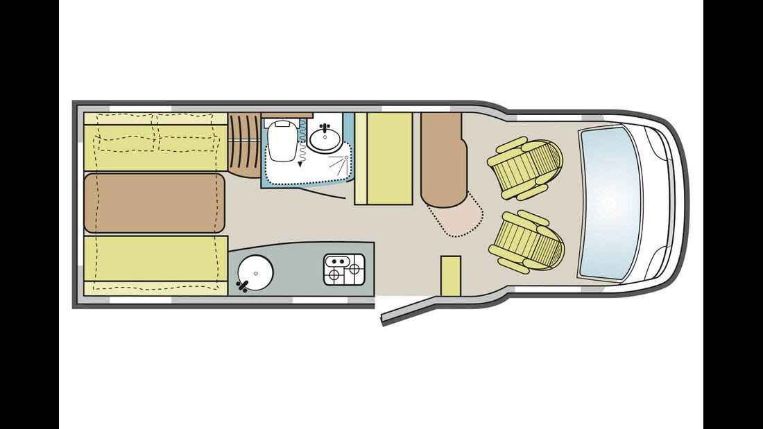Der Grundriss mit Sitzgruppe und Hubbett im Heck ist unter den Teilintegrierten einzigartig.