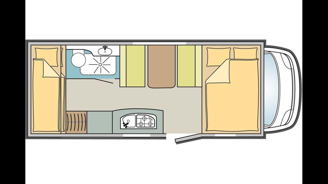 Der Lyseo A 660 zeigt einen klassischen Familiengrundriss mit Stockbetten im Heck.