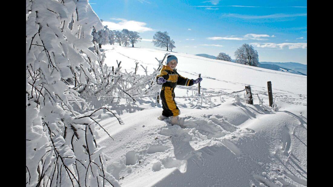 Der Schwarzwald bietet viel Platz zum Toben in weißer Pracht –  hier auf Freiburgs Hausberg, dem 1284 Meter hohen Schauinsland.