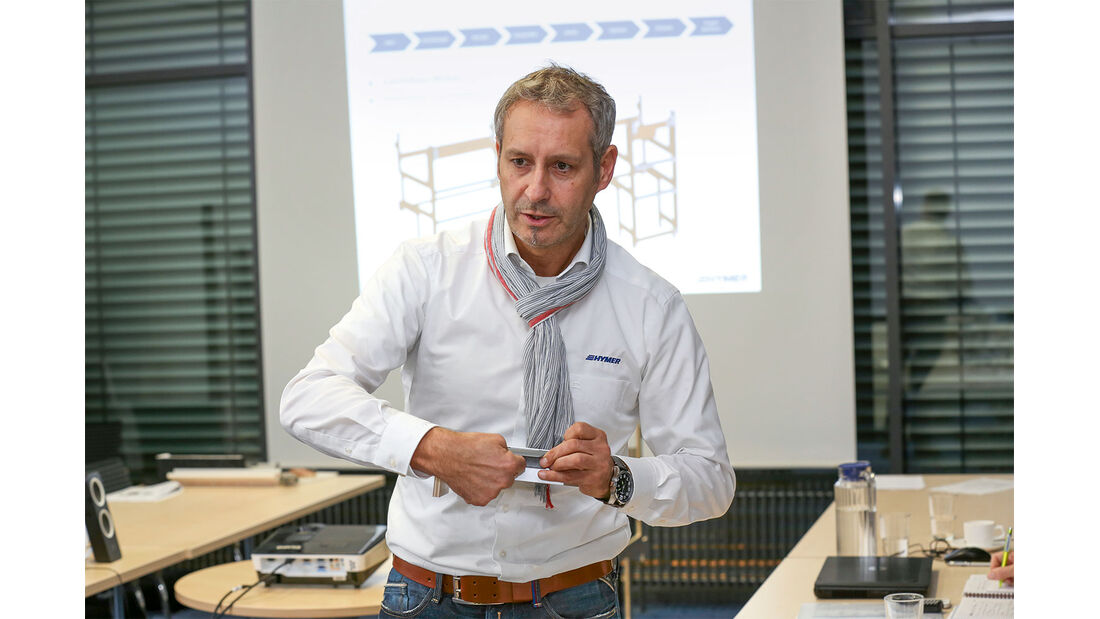 Der Teamleiter in der Ausbau-Entwicklung, Hansi Viest, ist mittlerweile seit 21 Jahren bei Hymer.
