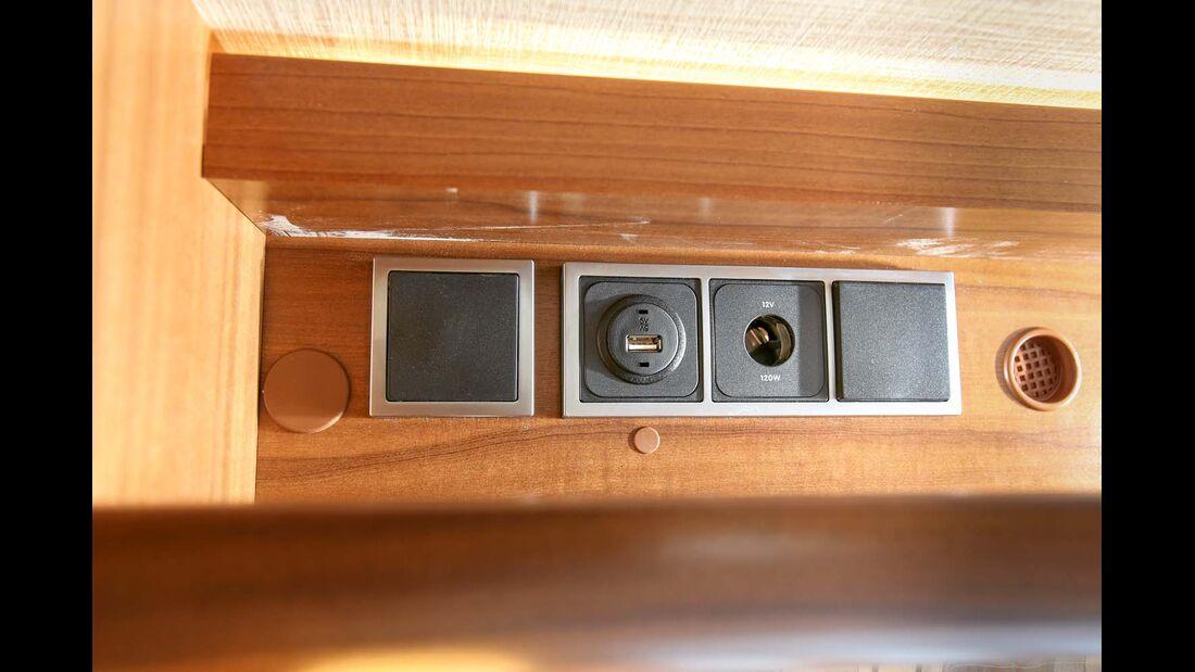 Der Van S beitet ein Paket mit fünf 230-Volt- und zwei 12-Volt-Steckdosen sowie zwei USB-Anschlüssen.