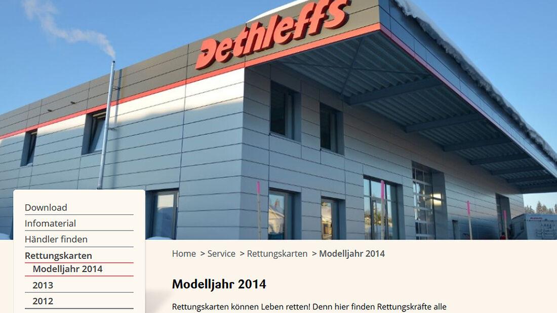 Dethleffs stellt Rettungskarten für seine Modelle auf seiner Homepage zum Download bereit. Sie verkürzen die Bergungszeit erheblich.