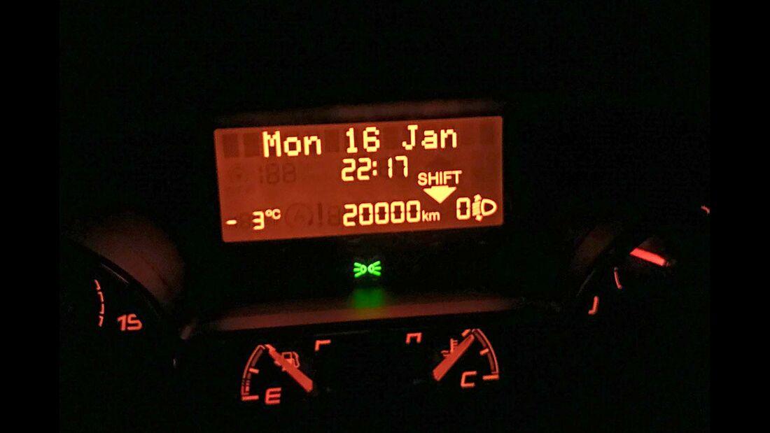 Die 20 000er-Marke passierte der Dauertester bei Schnee und Eis.