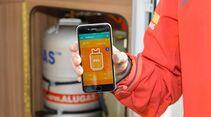 """Die App """"W8 System"""" bildet den Zustand der Gasflasche auf einen Blick ab."""