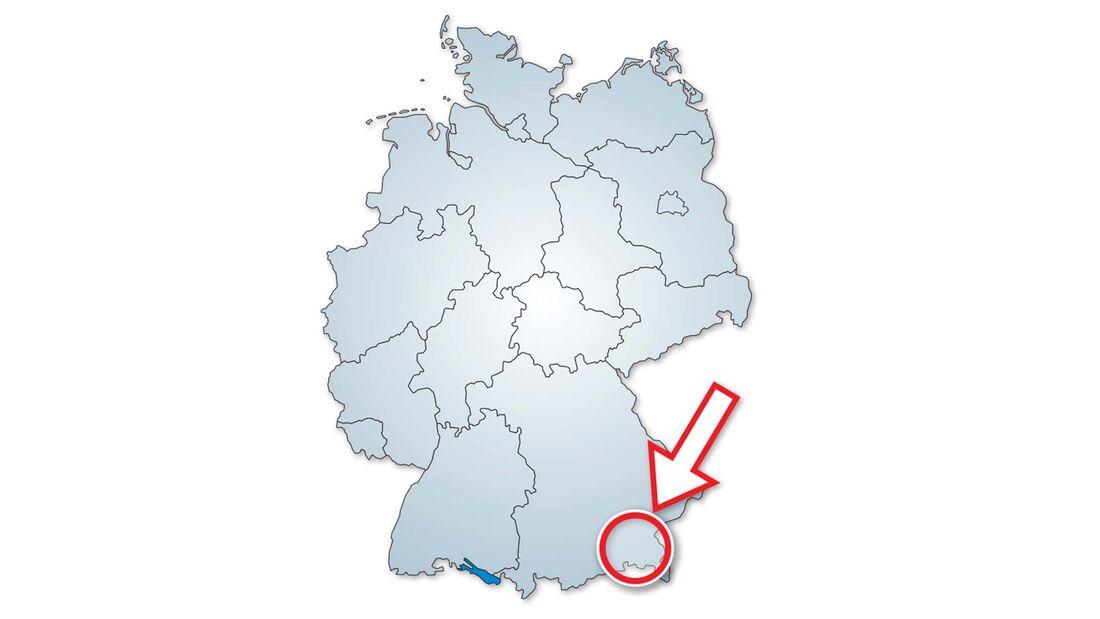 Die Lage des Stellplatz am Bauernhof Schmid in Südbayern.