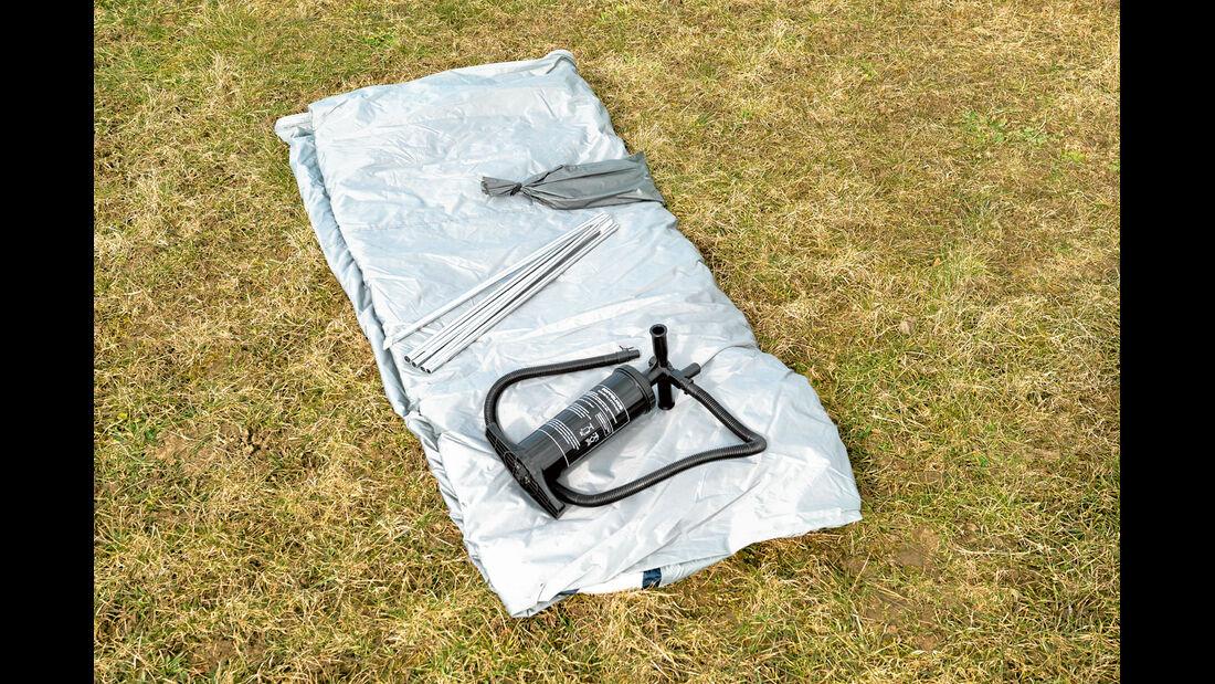 Die Luftpumpe liefern die Zelthersteller schon mit.