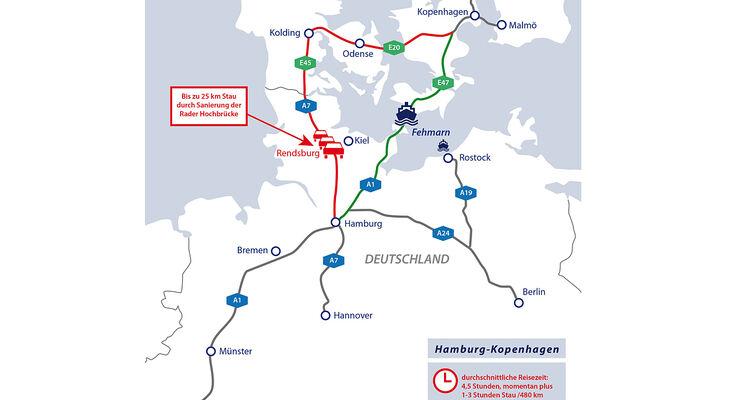 Die Sanierung der Rader Hochbrücke sorgt für kilometerlange Staus auf dem Reiseweg über die A7 in den Norden.