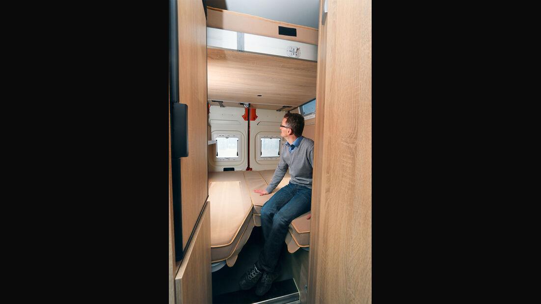 Die tief liegenden unteren Betten sind einfach zugänglich.