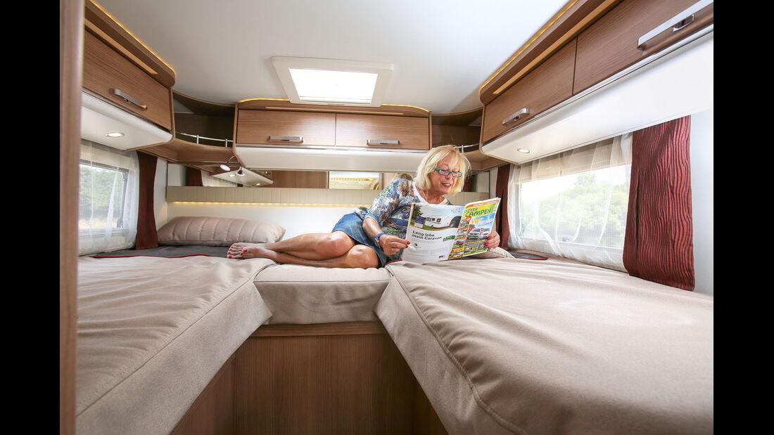 Einzelbetten 82 Zentimeter breit beim Malibu T460, rechte Liegefläche relativ kurz