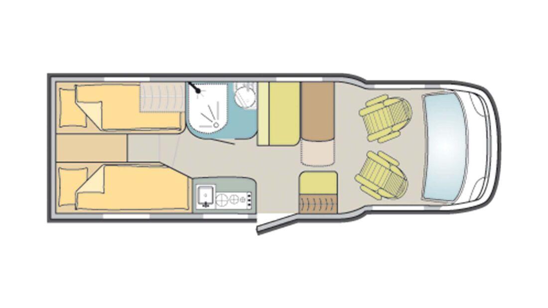 Einzelbetten-Grundriss