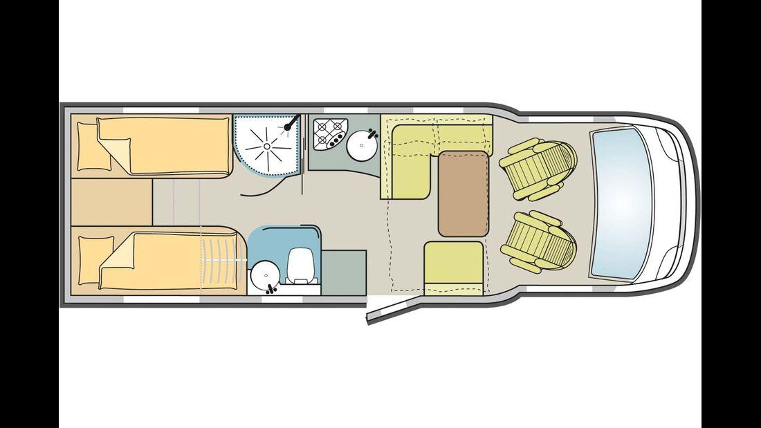 Europeo 95 Plus: das längere von zwei Einzelbettenmodellen mit größerem Kühlschrank.