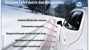 Fahrten ins Gebirge können es im Winter in sich haben, etwa in Serpentinen. Tipps dazu von TÜV Süd.