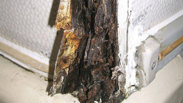 Feuchteschäden sind an Aufbaukanten besonders häufig anzutreffen.