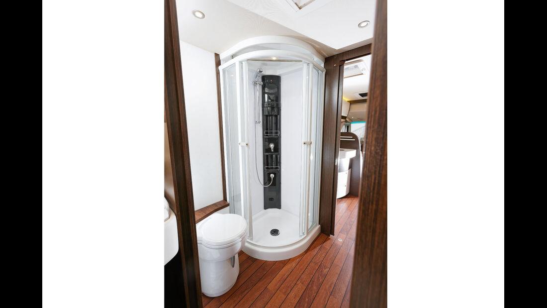 Frei stehende Toilette, separate Dusche im Haushaltsformat.
